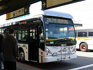 San Rafael Transit Center - A Van Hool A330 bus modified as a Zero-Emissions Bus at the SRTC (taken in 2007)