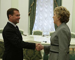 Mary McAleese - McAleese meets with President of Russia Dmitry Medvedev in 2010.