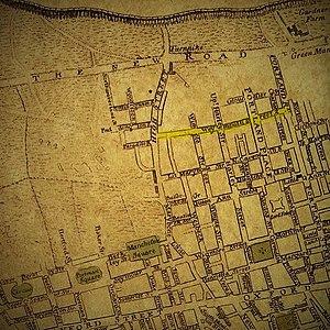 Devonshire Street - Image: Marylebone Map Clipping from Neuester Grundriss von London Westminster und Southwark 1770