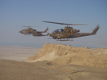 IAF Cobra gunships on military exercise. These attack helicopters were successfully employed against Syrian AFVs during the conflict. Masada cobra.jpg
