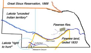 Massacre Canyon - Map with Massacre Canyon battlefield (1873), Nebraska. Pawnee reservation and relevant Lakota territories.