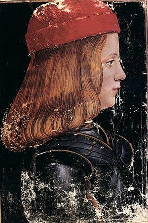 Maximilian Sforza - Image: Massimiliano Sforza by G.A. de Predis (Donatus Grammatica)
