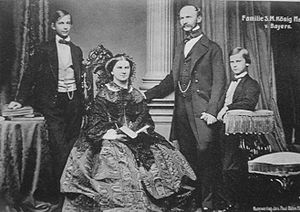 Ludwig II of Bavaria - Crown Prince Ludwig of Bavaria (left) with his parents and younger brother Prince Otto in 1860.