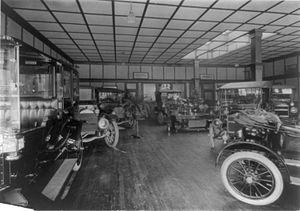 Car dealerships in North America - Sales floor of a Maxwell, Briscoe dealership