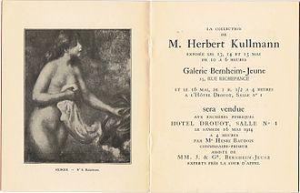 Hôtel Drouot - Frontispiece for a significant auction held at Drouot in May 1914, showing lot 8, Auguste Renoir, Baigneuse, 1895, 80 x 65 cm, similar to Baigneuse aux cheveux longs, Musée de l'Orangerie, Paris