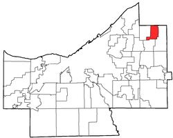 Location of Mayfield in Cuyahoga County