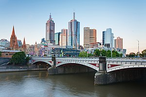 Princes Bridge - Image: Melbourne Skyline and Princes Bridge Dec 2008