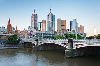 Princes Bridge road and tram bridge in Melbourne, Australia