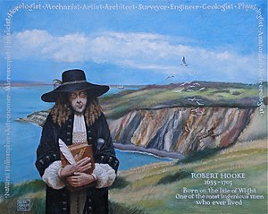 Robert Hooke - Memorial portrait of Robert Hooke at Alum Bay, Isle of Wight, his birthplace, by Rita Greer (2012).