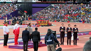 Athletics at the 2012 Summer Olympics – Men's shot put - Image: Men's Shot Put victory ceremony