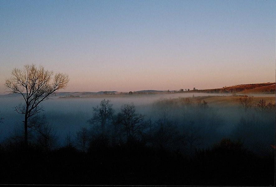 Cloud sea in Rouergue area, Aveyron, France. Diapo numérisée.