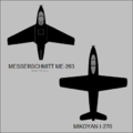 Messerschmitt Me 263 and Mikoyan-Gurevich I-270 top-view silhouettes.png
