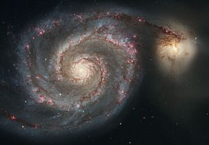 Whirlpool Galaxy (left) NGC 5195 (right)