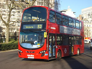 London Buses route 52 - Metroline Wright Eclipse Gemini 2 bodied Volvo B9TL in Victoria in December 2013