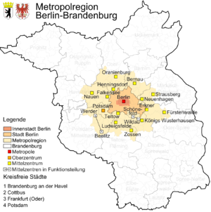 Berlin/Brandenburg Metropolitan Region - Berlin agglomeration with centralities