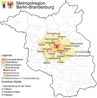 Berlin/Brandenburg Metropolitan Region - Berlin agglomeration with centralities
