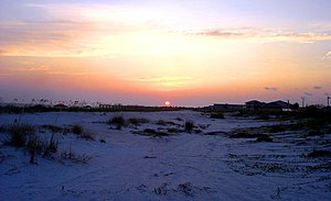 Mexico Beach, Florida - Sunset over Mexico Beach pier from the dunes
