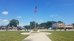 A view of the US flag and 147th Street, in Downtown Midlothian.