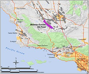 Midway-Sunset Oil Field - The Midway-Sunset Oil Field in Southern and Central California. Other oil fields are shown in gray.