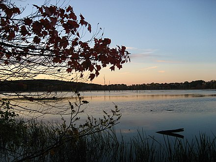 The Westborough Reservoir (Mill Pond) in Westborough, Massachusetts. Mill Pond Sunset.jpg