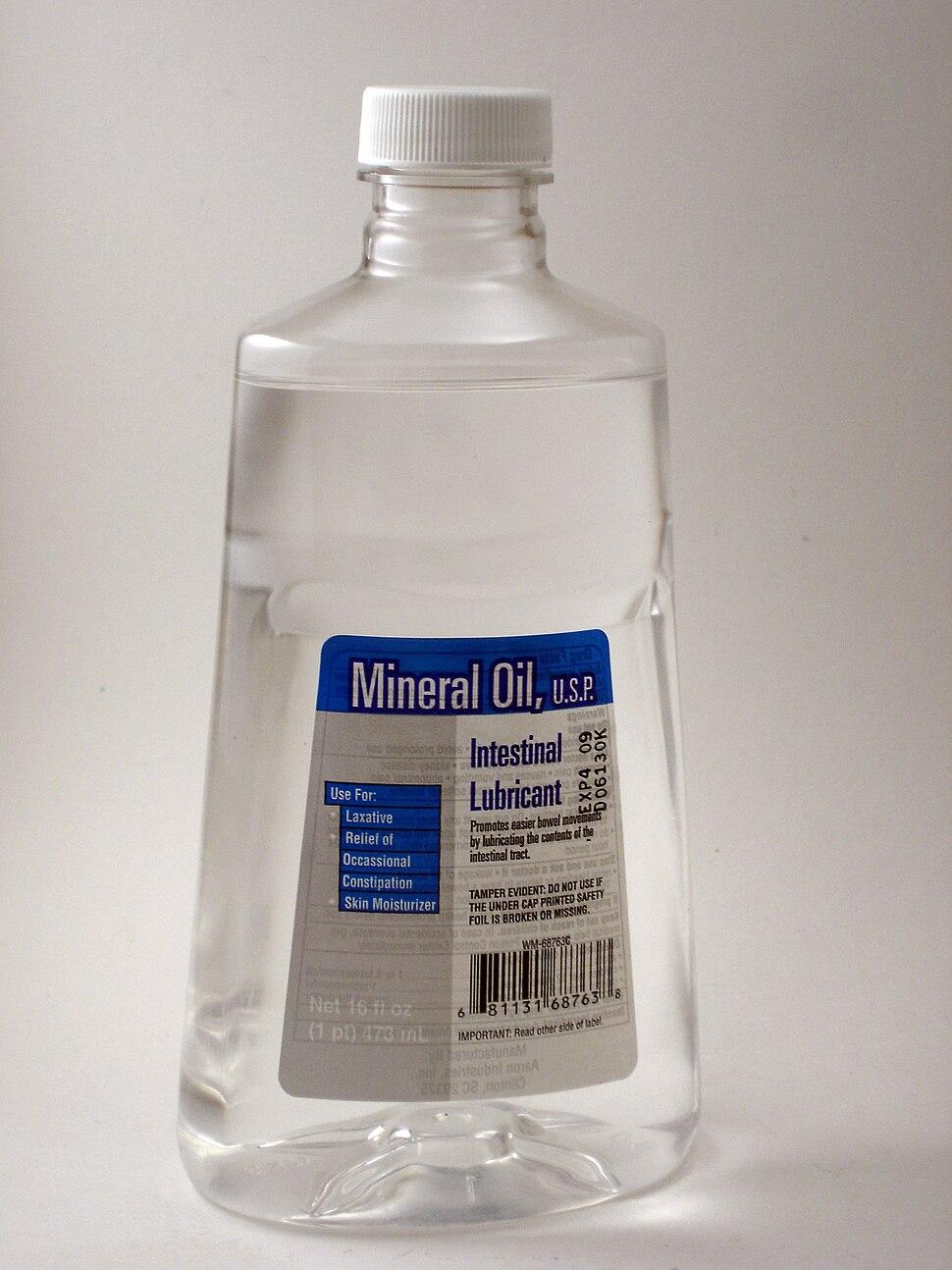 Mineral oil bottle, front
