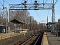 Mini-high platforms and signal bridge on the NEC at Canton Junction station, April 2016.JPG
