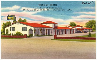 West Sacramento, California - Mission Motel on Route 99 in West Sacramento (c.1930s).