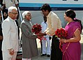 Mohd. Hamid Ansari being received by the Minister of Health, Rajasthan, Shri Rajender Singh Rathore, on his arrival at Sanganer Airport, in Jaipur on October 09, 2014. The Mayor of Jaipur, Ms. Jyoti Khandelwal is also seen.jpg