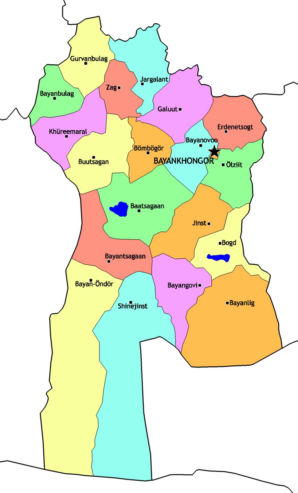 Mongolia Bayankhongor sum map