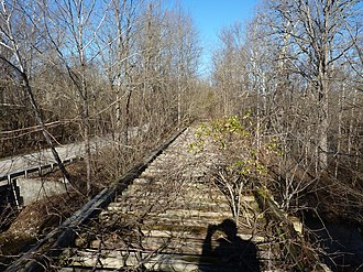 Monon Railroad - On top of an abandoned Monon Railroad trestle south of Bloomington, as seen in 2012