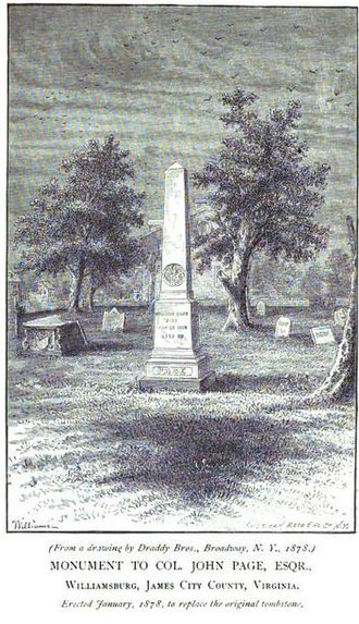 Bruton Parish Church - Monument to Col. John Page, Bruton Parish Churchyard
