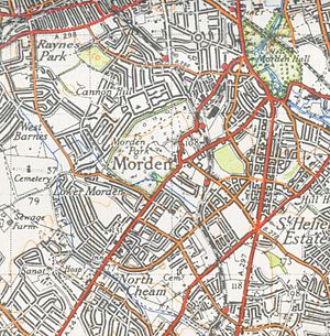 Morden - A map of Morden from 1944
