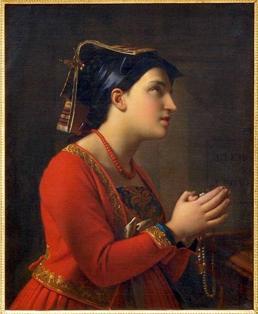 Moritz Calisch (1819-1870), Jonge Italiaanse vrouw in gebed, 1850, Olieverf op doek photo2