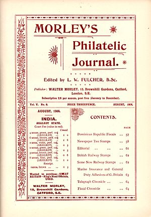 Walter Morley - The title page from a 1904 edition of Morley's Philatelic Journal.