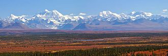 Mount Hayes - Mt. Hayes and the eastern Alaska Range mountains, as seen from the Denali Highway