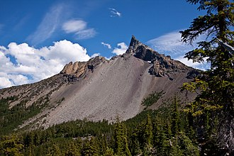 Mount Thielsen - Mount Thielsen's eroded edifice from the Pacific Crest Trail