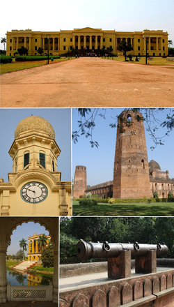 Clockwise from top: Hazarduari Palace, Caravanserai of Murshidabad, Jahan Kosha Cannon, Kathgola, Murshidabad Clock Tower
