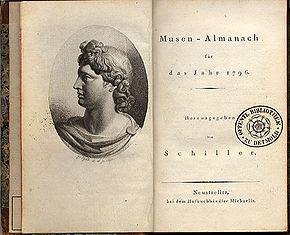Titelblatt und Vignette der ersten Ausgabe von Schillers Musen-Almanach für das Jahr 1796 (Quelle: Wikimedia)