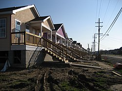 Some of the early houses built at Musicians' Village, in the Upper Ninth Ward