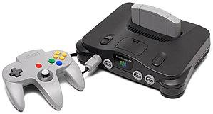 English: A Nintendo 64 video game console show...