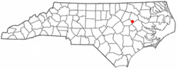 Location of Macclesfield, North Carolina