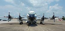 Frontale weergave van een vliegtuig