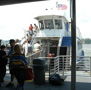 West Midtown Ferry Terminal - Bow loading ferry on Hudson River