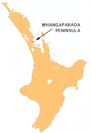 Location map of Whangaparaoa Peninsula, New Ze...