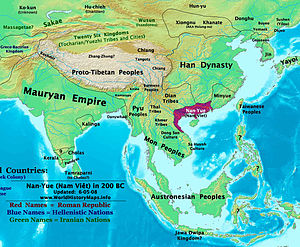 Baiyue - Nanyue, an ancient kingdom consisting parts of the modern southern Chinese provinces of Guangdong, Guangxi, Yunnan and northern Vietnam, 200 BC