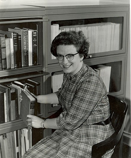 Nancy Grace Roman in her NASA office in the 1960s Nancy Grace Roman in the 1960s (41304995814).jpg