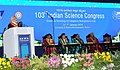 Narendra Modi delivering the inaugural address at the 103rd Session of Indian Science Congress, in Mysuru on January 03, 2016. The Governor of Karnataka, Shri Vajubhai Rudabhai Vala and other dignitaries are also seen (1).jpg