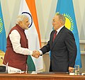 Narendra Modi shaking hands with the President of the Republic of Kazakhstan, Mr. Nursultan Nazarbayev after the Joint Press Statement, at Akorda President's Palace, in Astana, Kazakhstan on July 08, 2015.jpg