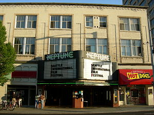 Neptune Theatre (Seattle) - The theatre's exterior in June 2007, during the Seattle International Film Festival