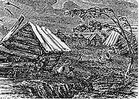 A drawing of an earthquake destroying land